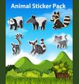 set animal sticker pack vector image