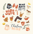 set icons christmas drinks theme winter hot vector image vector image