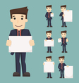 Set of businessman holding blank notes characters vector image