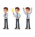 set of businessman in shirt getting ideas gesture vector image vector image