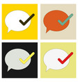 set of flat check message flat icon vector image vector image