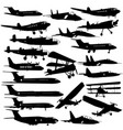 set of silhouettes of planes from different eras vector image