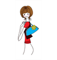 side view of woman smiling vector image vector image