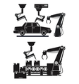 silhouette automated production line robotic vector image vector image