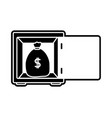 silhouette bag with peso symbol inside strong box vector image vector image