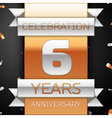 Six years anniversary celebration golden and vector image vector image