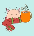 small cute monster red warm scarf cup cocoa vector image