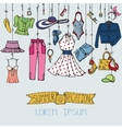 Summer fashion setWoman colored wear hanging on vector image vector image