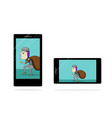 thief in tablet and smartphone screen on white vector image vector image
