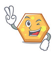 two finger hexagon character cartoon style vector image
