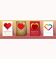 valentines day postcards and brochures in vintage vector image