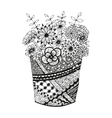 Vase with doodling hand drawn flowers and patterns vector image vector image