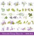 Vintage Flower Set - Watercolor Style vector image vector image