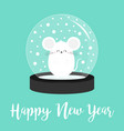 white mouse animal icon crystal ball with snow vector image vector image