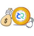 with money bag decred coin character cartoon vector image vector image