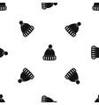 woolen hat pattern seamless black vector image vector image