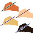 writing hands with pencils vector image vector image