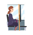 young woman wearing business clothes in public vector image vector image