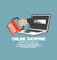 Shopping Cart With Laptop Online Shopping Concept vector image