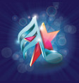 3d shiny colorful musical note with star on vector image vector image