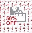 50 percent off text on bag design