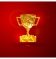 a golden metallic foil champions cup on t vector image vector image