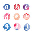 alphabet watercolor circles vector image vector image