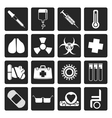 Black collection of medical themed icons vector image vector image