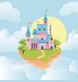 castle in sky fairytale medieval building vector image