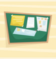 chalk bulletin board with papers attached vector image