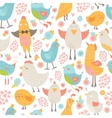 Cute birds seamless background vector image
