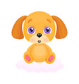 cute little red dog sitting on cloud vector image vector image