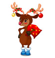 cute reindeer with christmas baubles on horns vector image