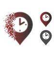 disintegrating pixel halftone clock marker icon vector image