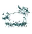 engrave flowers frame sketch meadow design vector image vector image