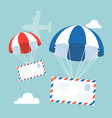 envelope with parachute in sky vector image