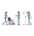 female nurse doing medical procedure vector image vector image