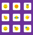 flat icon expression set of have an good opinion vector image vector image