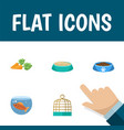 flat icon pets set of bird prison fishbowl vector image vector image