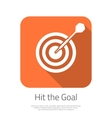 Flat Target Hit the Goal Icon with Long vector image vector image