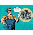 Fun mechanic check engine repair car vector image vector image