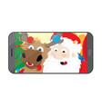 funny santa claus and reindeer taking a selfie vector image