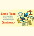 game place concept banner cartoon style vector image vector image