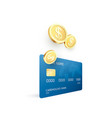 golden coins and credit card template money goes vector image