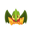 green fairy tale dragon with eyes and wings vector image