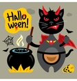 Halloween Crazy Black Cat Cartoon vector image vector image