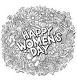 happy womans day hand drawn cartoon doodles vector image