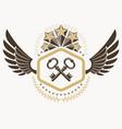 heraldic coat of arms decorative emblem of keys vector image vector image