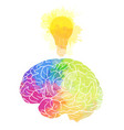 human brain with rainbow watercolor splashes and a vector image vector image