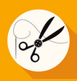 icon scissors on white circle with a long shadow vector image vector image